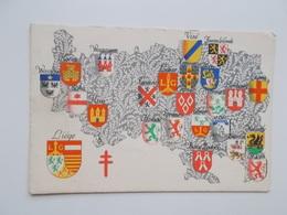 CPA Original:  Armoiries Des Provinces (Liège)  Huy-Hanut-Seraing)Spa-Verviers-Herve-Eupen-Visé- Moha-Waremme- Etc... - Belgique
