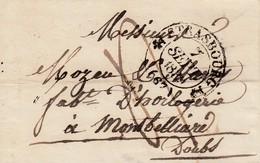 LAC Obl STRASBOURG [Type 12] Du 7 SEPT 1839 Adressée à Montbéliard Avec Taxe Manuscrite 4 Décimes - Marcophilie (Lettres)