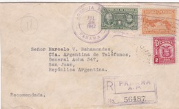 ENVELOPPE CIRCULEE PANAMA TO ARGENTINE 1942 RECOMMANDE MIXED STAMPS AUTRES MARQUES - BLEUP - Panama
