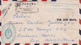 AIRMAIL ENVELOPPE CIRCULEE PANAMA TO ARGENTINE 1940 RECOMMANDE MIXED STAMPS AUTRES MARQUES STAMP A PAIR - BLEUP - Panama