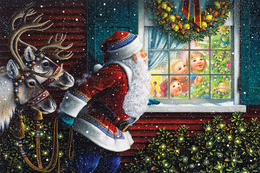 Winter Christmas New Year Santa Claus Rare New Postcard 140/3 - Kerstman