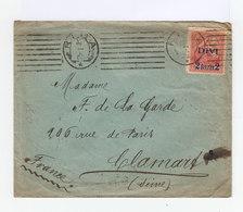 Sur Enveloppe Timbre 1919 50 K. Rose Surchargé DIVI 2 Rub 2. CAD Ovale Riga 1921. Lignes Parallèles. (885) - Lettonie