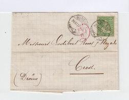 Sur Lettre SC Timbre Helvetia Assise 25 C. Vert Jaune. CAD Genève 1877. CAD Crest Et Lyon Marseille. (886) - Marcophilie