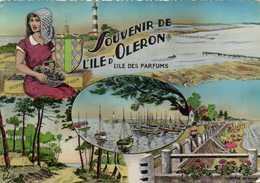 CPSM Grand Format Fantaisie SOUVENIR DE L'ILE D'OLERON  L'ILE DES PARFUMS  Colorisée .RV - Ile D'Oléron