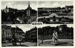 Gera, Mehrbild-AK  Mit Markt Und Geschäten, 1938 - Gera