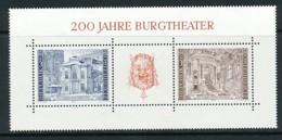 ÖSTERREICH Mi. Nr. Block 3 200 Jahre Burgtheater, Wien - MNH - 1945-.... 2. Republik