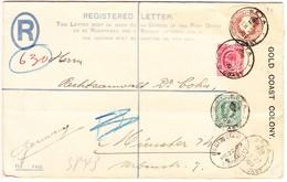 1909 Eingeschriebene Ganzsache Aus Gold Coast Kolonie Mit Zusatzfrankatur Aus Keta Nach München - Côte D'Or (...-1957)