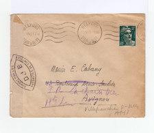 Sur Enveloppe Marianne 2 F. Vert CAD Belfort 12 Mai 1945 Et Lignes Ondulées. Ouvert Par Autorités De Contrôle. (890) - Marcophilie (Lettres)