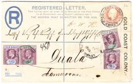 1905 Eingeschriebene Ganzsache Aus Gold Coast Kolonie Mit Zusatzfrankatur Aus Cape Coast Nach Duwala ( Deutsch Kamerun) - Côte D'Or (...-1957)
