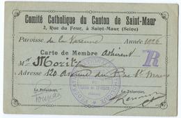 CARTE DE MEMBRE COMITE CATHOLIQUE SAINT-MAUR 1926 M. MORITZ - Vieux Papiers