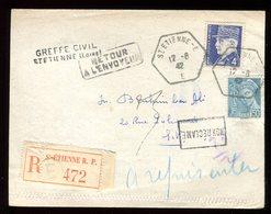 Carte Lettre En Recommandé De Saint Etienne Et Retour En 1942 - N130 - Marcophilie (Lettres)