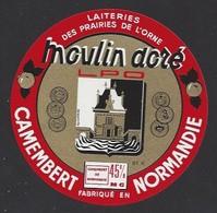 Etiquette De Fromage  Camembert  -  Moulin Doré  -  Laiterie Des Prairies De L'Orne   Le Mesle Sur Sarthe  (61 K) - Cheese