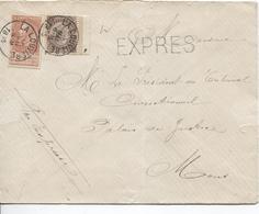 2549/ TP 49-57 S/L.Exprès C.La Louvière 16/5/1895 En Double Port V.Mons C.d'arrivée C.octogonal - 1893-1900 Thin Beard