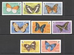 T336 !!! IMPERFORATE GAMBIA FLORA & FAUNA BUTTERFLIES 1SET MNH - Schmetterlinge