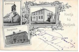 Iceland - Reykjavik - Kvedja Fra Reykjavik - Undivided Card With Postoffice, Church And Parlement - Iceland
