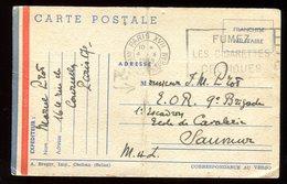 Carte FM ( Pli Central ) De Paris Pour Saumur En 1939 - N137 - Marcophilie (Lettres)