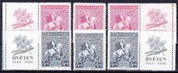** Tchécoslovaquie 1946 Mi 490-1+ Zf (Yv 427-8+ Vignettes), (MNH) - Unused Stamps