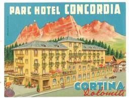étiquette D'Hôtel / Bagages, Valise : Parc Hotel Concordia , Cortina , Dolomiti - Etiquettes D'hotels