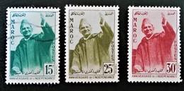 ANNIVERSAIRE DE L'INDEPENDANCE 1957 - OBLITERES - YT 374/76 - MI 420/22 - Maroc (1956-...)