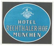 étiquette D'Hôtel / Bagages, Valise : Hotel Rechthaler-Hof München ( Allemagne ) - Hotel Labels