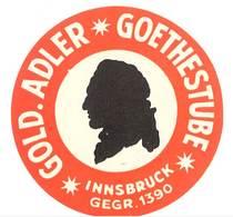 étiquette D'Hôtel / Bagages, Valise : Gold Adler Goethestube, Innsbruck - Etiquettes D'hotels