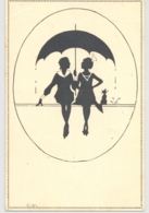 CPA SILHOUETTE, TWO WOMEN AND A CAT UNDER UMBRELLA - Silhouettes