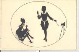 CPA SILHOUETTE, TWO WOMEN WITH A DOLL AND CAMERA - Silhouettes