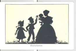 CPA SILHOUETTE, MOTHER AND CHILDRENS - Silhouettes