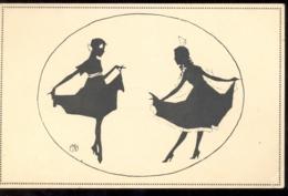 CPA SILHOUETTE, TWO WOMEN DANCING - Silhouettes