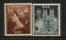 Couronnement De La Reine Elisabeth II 1953,  2 Timbres Neufs ** 1953 De L'île NIUE - Niue