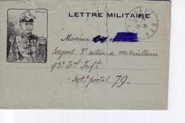 Lettre Militaire Illustrée Du Portrait Du Général Galliéni - Military Service Stampless