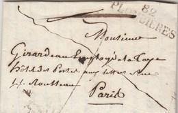 Lettre Marque Postale 82 PLOMBIERES Vosges 27/7/1821 Pour Hôtel Des Postes Aux Lettres Rue Rousseau Paris - Marcophilie (Lettres)