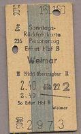 BRD - Pappfahrkarte (DR) -  Erfurt - Weimar Von 1960 - Bahn