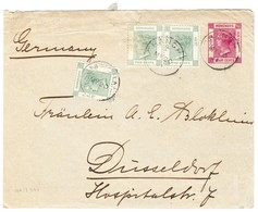 1901 4 Cent Ganzsache Mit Zusatzfrankatur Aus Shanghai Nach Düsseldorf; Gebrauchsspuren - Hong Kong (...-1997)