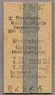 BRD - Pappfahrkarte (DR) - Erfurt - Ringleben Gebesee Von 1961 - Bahn