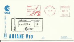 ESPACE - Lancement Fusée ARIANE V10 - 04/08/1984 - Enveloppe Club Philatélique ESA - CENTRE SPATIAL GUYANAIS - KOUROU - FDC & Commemoratives