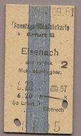 BRD - Pappfahrkarte (DR) - Erfurt - Eisenach Von 1961 - Bahn