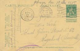 550/27 - PREMIERS MOIS DE GUERRE - Entier Pellens KIEL Via ANTWERPEN 5 IX 1914 Vers RUYSBROECK - Arrivée 19 Mai 1915 - Weltkrieg 1914-18