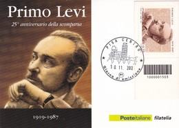 25° ANNIVERSARIO DELLA SCOMPARSA DI PRIMO LEVI CARTOLINA CON CODICE A BARRE GIORNO DI EMISSIONE 2012 - 6. 1946-.. Republik