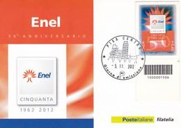 50° ANNIVERSARIO ENEL CARTOLINA CON CODICE A BARRE GIORNO DI EMISSIONE 2012 - 1946-.. Republiek