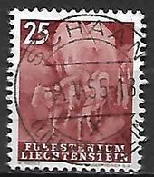 LIECHTENSTEIN    -  1951  .  Y&T N° 255 Oblitéré.  Attelage De Foin  /  Chevaux - Liechtenstein