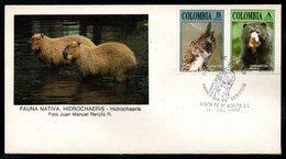 COLOMBIA- KOLUMBIEN- 1992. FDC/SPD. NATIVE FAUNA, OWL AND BEAR - Colombie