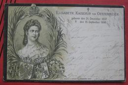 Künstlerkarte (Lithographie) Trauerkarte Elisabeth (1837 - 1898), Kaiserin Von Österreich / Schraffenstempel Ehrenhausen - Familles Royales