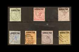 """1886 """"GIBRALTAR"""" Overprinted Stamps Of Bermuda Complete Set, SG 1/7, Fine Used (7 Stamps) For More Images, Please Visit  - Gibraltar"""