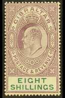 1906-11 8s Purple & Green, SG 74, Fine Mint For More Images, Please Visit Http://www.sandafayre.com/itemdetails.aspx?s=6 - Gibraltar