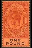 1912-24 £1 Dull Purple & Black/red, SG 85, Fine Mint For More Images, Please Visit Http://www.sandafayre.com/itemdetails - Gibraltar