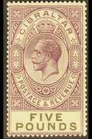 1925-32 £5 Violet And Black, SG 108, Superb Lightly Hinged Mint, With BPA Certificate. For More Images, Please Visit Htt - Gibraltar