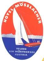 étiquette D'Hôtel / Bagages, Valise : Hotel Mösslacher , Austria ( Bateau, Voilier ) - Etiquettes D'hotels