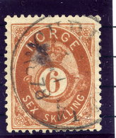 NORWAY 1873 Posthorn 6 Sk. Used. Michel 20 - Used Stamps