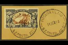 """1935 2½d Chocolate And Slate Pictorial Of New Zealand, On Piece Tied By Fine Full """"PITCAIRN ISLAND"""" Cds Cancels Of 14 OC - Stamps"""